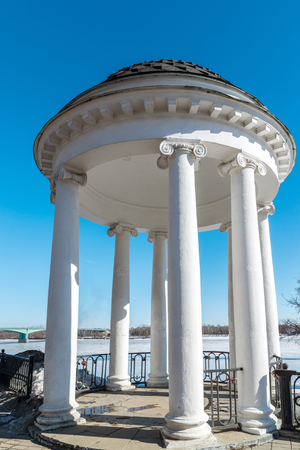 seafronts: Gazebo on the embankment of the river Volga in Yaroslavl, Russia Stock Photo