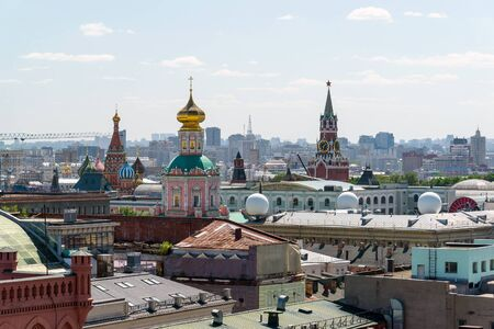 spassky: View to Downtown, Spassky tower, the bell tower of Ivan the Great in Moscow. Russia