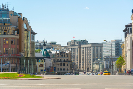 duma: Moscow, Russia - May 17, 2016. Lubyanka Square with views of the State Duma