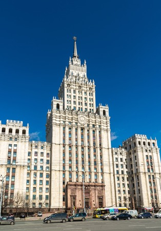 spassky: Moscow, Russia - April 09.2016. Stalin skyscraper on the square of the Red Gate. Editorial