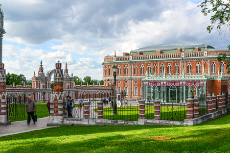 Moscow, Russia - June 08, 2016. Tourists in a museum estate of Tsaritsyno
