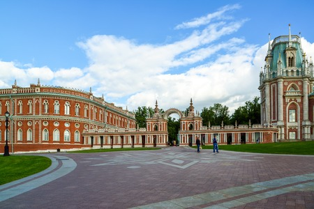 tsaritsyno: Moscow, Russia - June 08, 2016. Gallery with an arch in museum estate of Tsaritsyno Editorial
