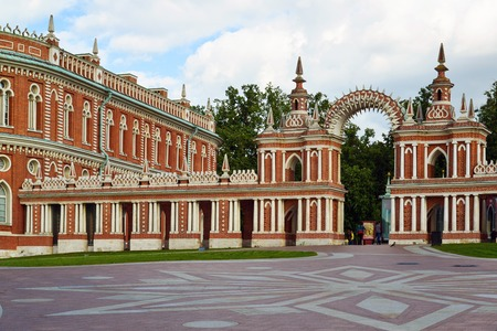 Moscow, Russia - June 08, 2016. Gallery with an arch in museum estate of Tsaritsyno Editorial