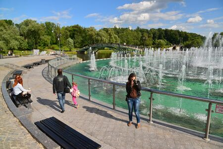 Moscow, Russia - June 08. 2016 Musical Fountain of aTsaritsyno Museum Editorial
