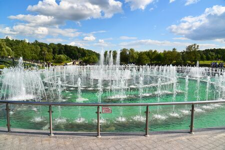 Moscow, Russia - June 08. 2016. Musical Fountain in a Tsaritsyno park