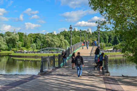 Moscow, Russia - June 08. 2016. The Footbridge across the pond in the estate of Tsaritsyno Museum