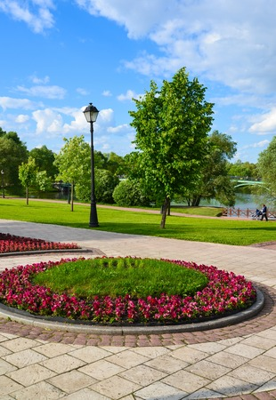 General view of park Tsaritsyno in summer in Moscow, Russia