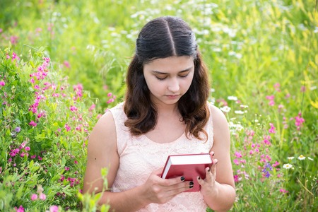 teeny: Romantic girl reading a book on a nature Stock Photo