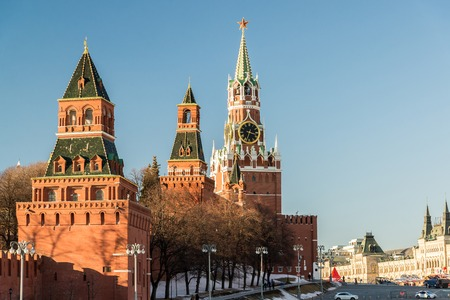 spasskaya: Spasskaya tower with a clock in the Moscow Kremlin, Russia Stock Photo