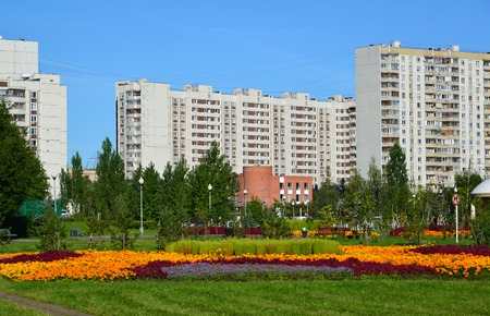 A flower bed in Zelenograd in Moscow, Russia Stock Photo