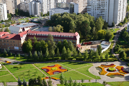 Top view of the Boulevard 16 in district Zelenograd in Moscow, Russia