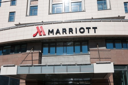 Moscow, Russia - 09.21.2015. view of a Marriott hotel on Novy Arbat street