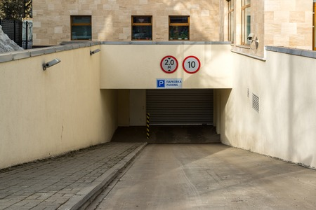Entrance to an underground garage in Russia