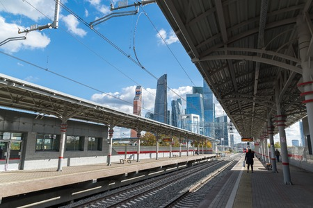 Moscow, Russia-October 01.2016. station Shelepiha Moscow central ring and skyscraper in Moscow City
