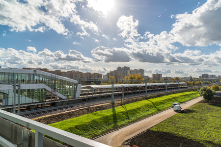 arrives: Moscow, Russia-October 01.2016. cityscape near Likhobory - station on Moscow central ring Editorial