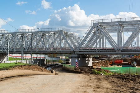movable bridge: Moscow, Russia-October 01.2016. construction of A Railroad of the Moscow central ring Editorial