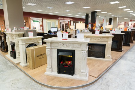 fireplaces: Khimki, Russia - September 03.2016. Electric fireplaces in the largest furniture store Grand