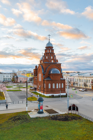 Vladimir, Russia -05.11.2015 Old Believers Temple Trinity in a Theatre Square
