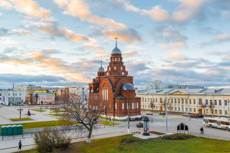 believers: Vladimir, Russia -05.11.2015 Old Believers Temple Trinity in a Theatre Square