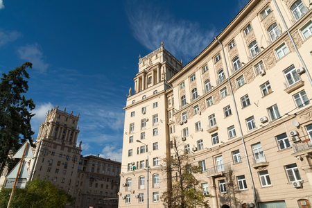 Residential houses of Stalinist architecture on Leninsky Prospekt in Moscow, Russia