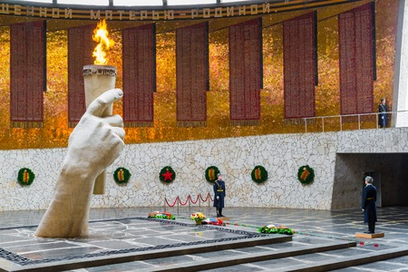 Volgograd, Russia - November 2.2016. The eternal flame in the Hall of Military Glory on Mamayev Kurgan,