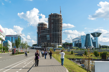 floodplain: Krasnogorsk, Russia - July 09.2016. general view of the city with Construction office and business center Two Captains and House of Moscow Oblast Government. Editorial