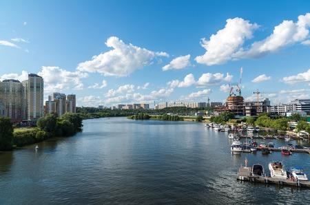 floodplain: Krasnogorsk, Russia - July 09.2016. General view of the floodplain Pavshinskaya
