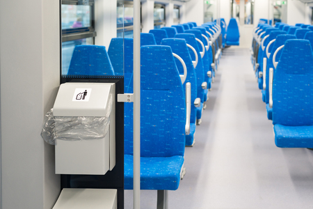 litterbin: Garbage container in the electric train in Moscow, Russia Stock Photo