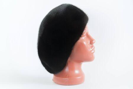 visone: black beret from natural mink on a mannequin