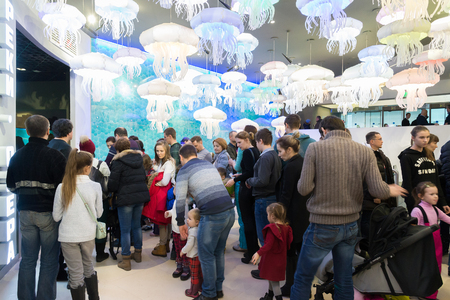 Moscow, Russia - December 10.2016. People stand in line for exhibition in the Oceanarium in Krasnogorsk. the opening day Editorial