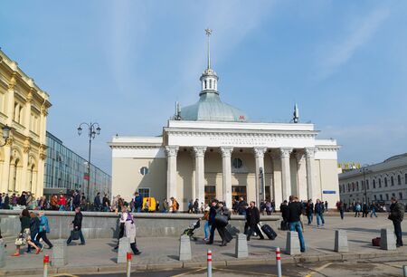 olden day: Moscow, Russia - April 14.2016. Leningradsky railway station. Landmark was built in 1849 Editorial