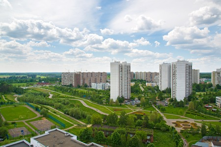 Top view of boulevard in Zelenograd, Russia