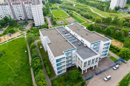 top view of school in Zelenograd, Russia