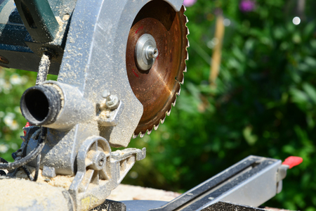 variable: Circular saw on background of nature in summer Stock Photo