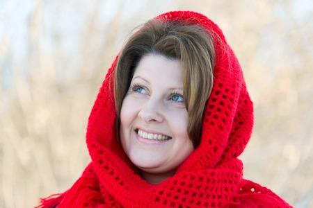 Portrait of a Russian beautiful woman in winter