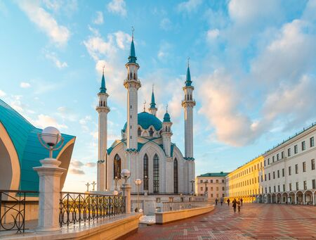 tatarstan: View of the mosque Kul-Sharif at a sunset. Russia, Tatarstan