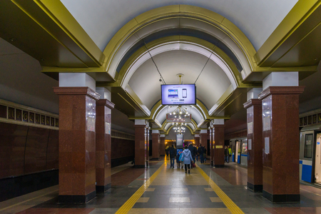 Kazan, Russia - March 25.2017. Interior of the metro station Prospect Victory