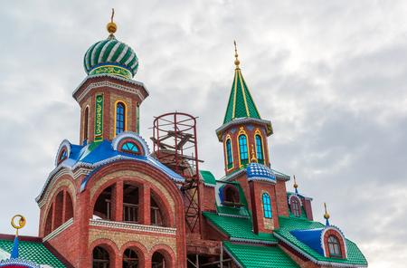 domes of temple of an all religions. The village of Old Arakchino. Kazan, Tatarstan. Stock Photo
