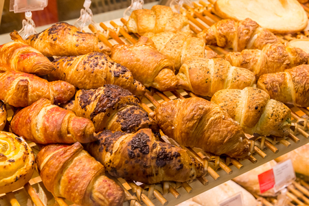 set of croissants in the shop window