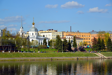 mikhail: View of the Zavolzhsky Park, the Church of the Resurrection of Christ and the Monument of Athanasius Nikitin in Tver, Russia
