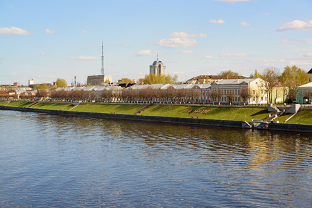 mikhail: Tver, Russia - may 07.2017. A view of a quay of a Mikhail Yaroslavich from the river Editorial