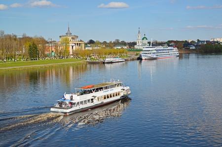 Tver, russia - may 07.2017. Pleasure boat Vladimir Ershov of a Volga-Volga company Editorial