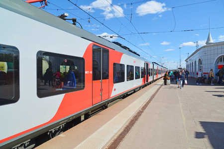 Tver, Russia - may 07.2017. High-speed train Lastochka in the station