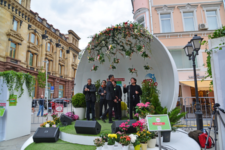 Moscow, Russia - may 06.2017. Group B Vocal at festival acappella of Moscow Spring on Street Kuznetsk bridge Editorial