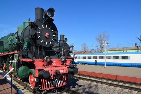 exposición: Moscow, Russia - April 1.2017. Steam locomotive of Sormovskiy amplified series