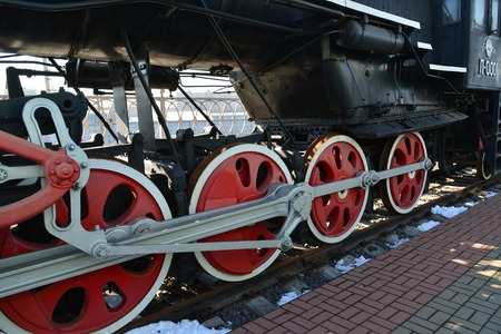 amplified: Moscow, Russia - April 1.2017. The wheels of the locomotive P-001 in Museum of History of a Railway Transport Development