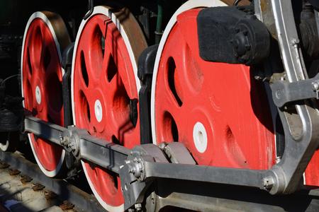 exposición: Old steam locomotive wheels a close-up, Russia