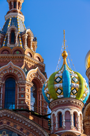 Temple of the Savior on Blood - close-up view, St. Petersburg, Russia Stock Photo