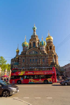 St. Petersburg, Russia - June 04.2017. The Church of Savior on the Spilled Blood and the tourist bus Editorial