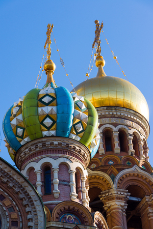 Church of Savior on Blood - architectural details and artistic elements of facade, St. Petersburg, Russia
